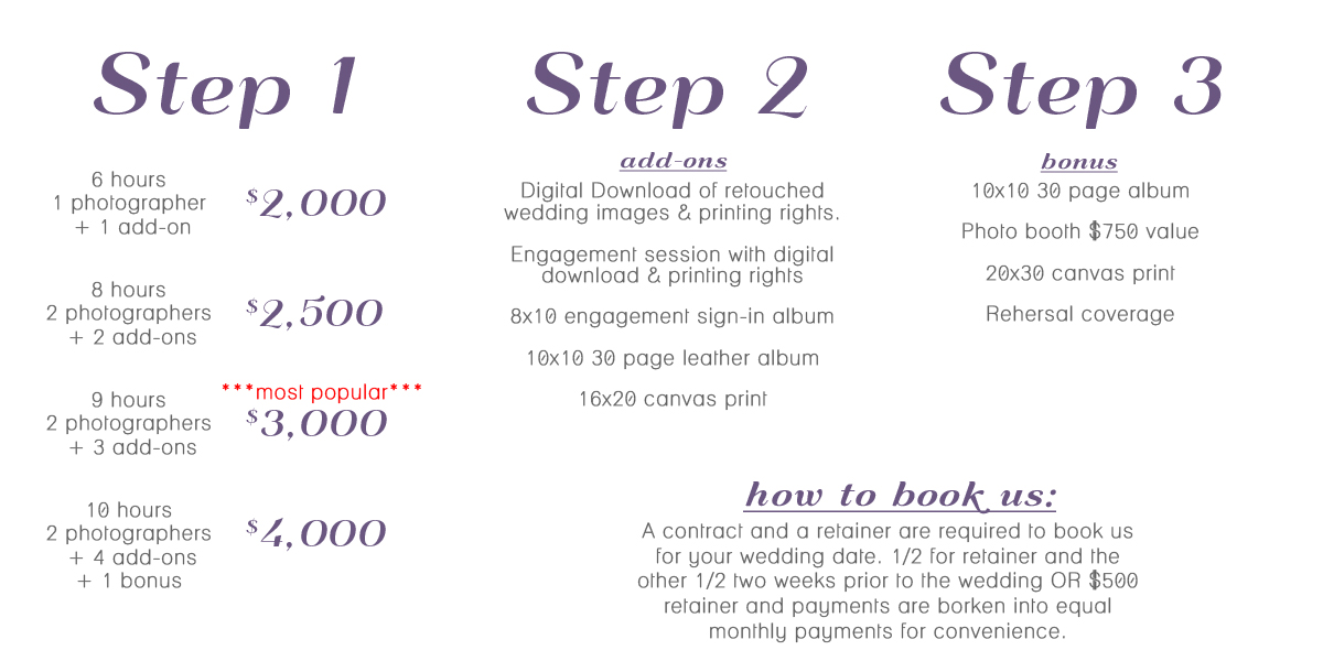 Nashville Wedding Photography Pricing Packages